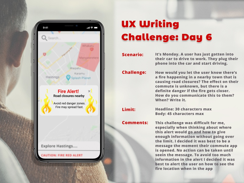 UX Writing Challenge: Day 6 navigation popup warning alerts day 6 ux research experiment writing challenge writing map fire ux design uxwriting ux user experience alert dailychallenge app