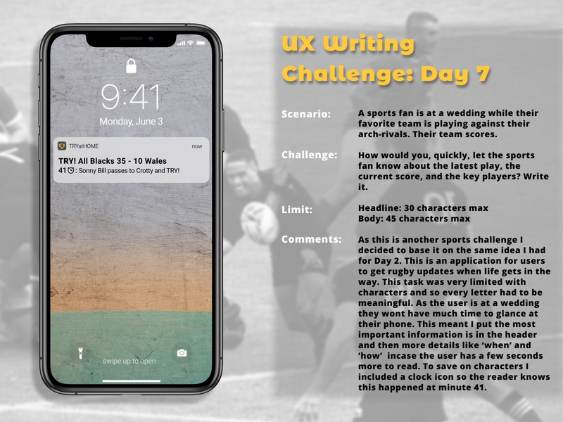 UX Writing Challenge: Day 7 app experiment sports design lockscreen notification lockscreen uxdesign notification sport rugby writing challenge ux writing day 7 dailychallenge ux research ux user experience