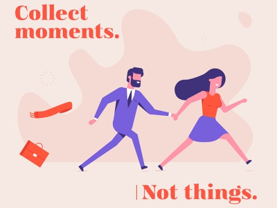 Collect Moments work couple suitcase character vector branding spontaneous fun typography quote flat quotes travel illustration