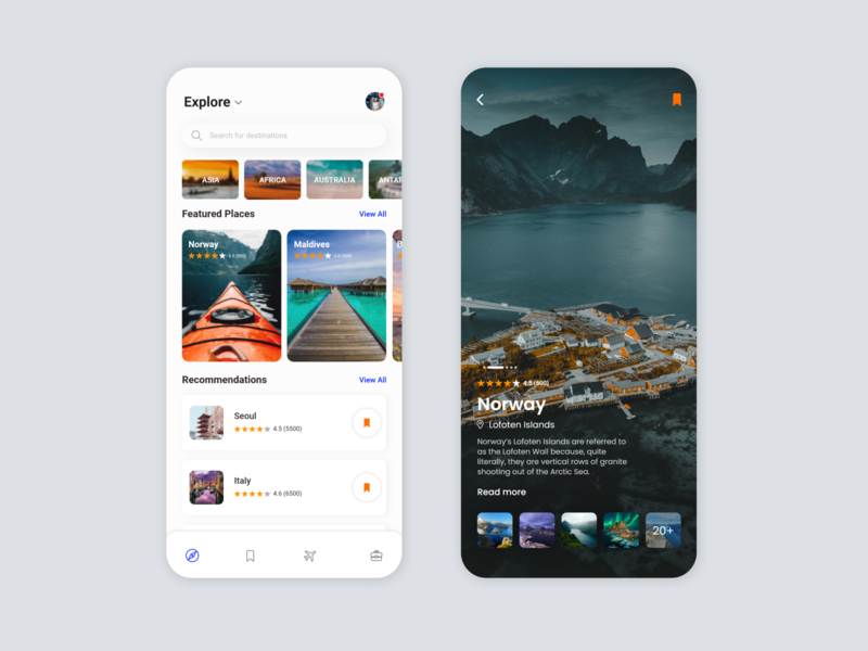 Travel App UI flatdesign xd dark mode lightmode uiuxdesigner design userinterface user experience uiuxdesign exploration mobile ui travel app