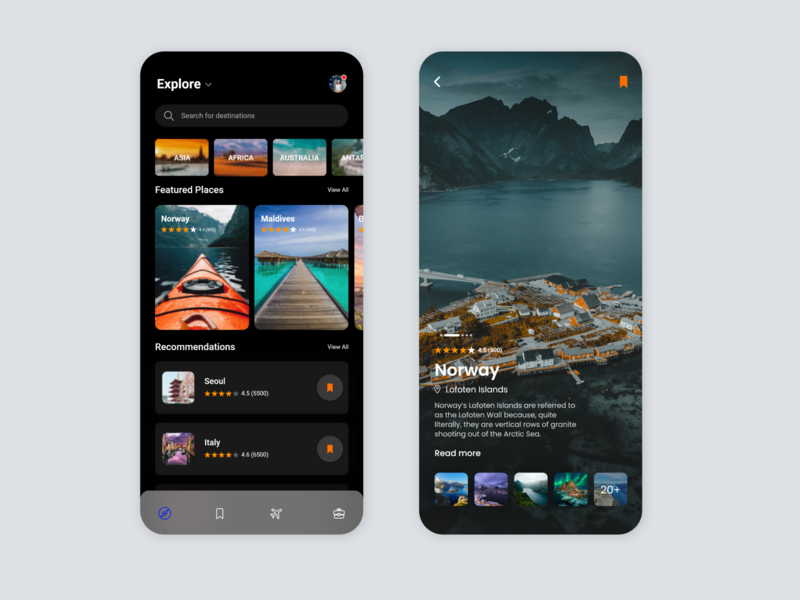 Travel App UI exploration design userinterface mobile ui xd uiuxdesign uiuxdesigner user experience darkmode flatdesign light mode travel app