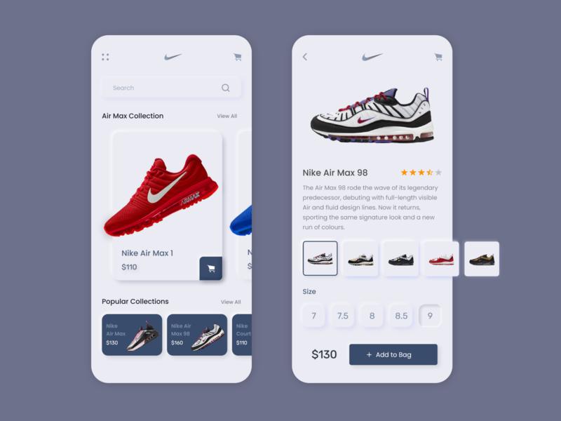 Nike App UI design branding neomorphism xd uiuxdesigner uiuxdesign user experience user inteface mobile ui soft ui neumorphism neumorphic design nike app nike air max