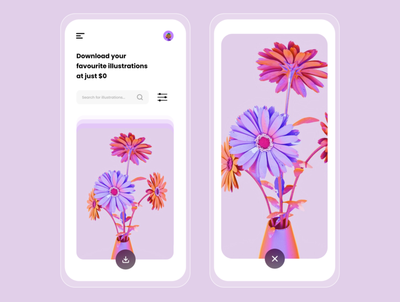 Illustrations Downloader - Light Mobile UI clean design minimalism illustration vector userinterface uiuxdesigner mobile ui design user experience flatdesign xd uiuxdesign