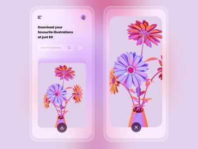 Illustrations Downloader - Transparent Mobile UI transparent clean design minimalism illustration vector userinterface uiuxdesigner mobile ui design user experience flatdesign xd uiuxdesign