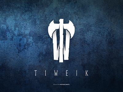 tiweik logo logodesign pickaxe axe blue and white flat blue viking twitch streamer logotype logo