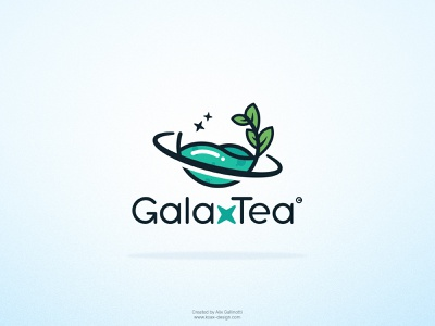 Galaxtea logo for a tea brand leaf green flat logo planet space tea