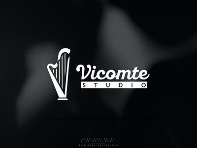 Music studio logo music harp studio logotype logo design logo