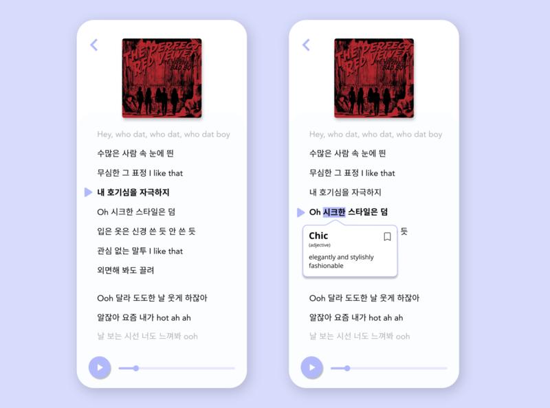 LingoPop | Learn Korean with K-Pop app kpop language learning design