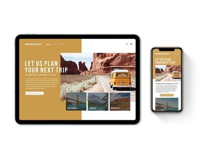 Wanderlust Travel Landing Page branding website minimal ui typography design ux