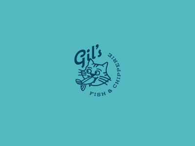 Gil's stamp symbol character scriptfont mascot fish cat illustration restaurant icon graphic food mark logo branding