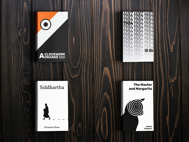 Book classics redesigned book illustration illustration design graphic design mikhail bulgakov the master and margarita hermann hesse siddhartha anthony burgess george orwell 1984 clockwork orange redesign book redesign book cover design book cover art book cover books