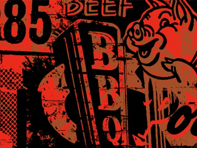 BBQ bbq barbecue collage pig food branding banner pork halftones wash