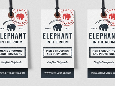 EITR 2 stamp elephant lounge grooming crafted hang tag