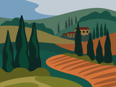 Postcard from Tuscany graphic landscape italy tuscany vector vector illustration design illustration adobe illustrator