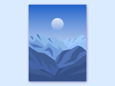 Mountains night moon nature illustrator montagne mountains artwork vector vector illustration illustration