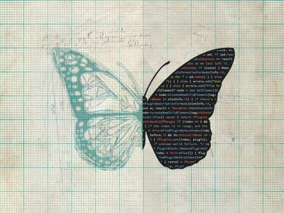 Art+Logic PDF blueprint code cover page drafting split half sketch graph paper butterfly