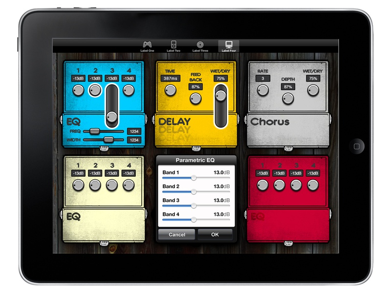 iPad pedal app design tablet vintage colorful buttons proaudio app ui design music pedals stompbox eq parametric delay chorus ipad pedal audio