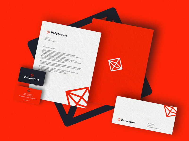 Polyedrum |  Company orange businesscard vector logo busniesscard design branding