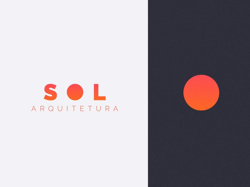 SOL Architecture circle orange vector minimal flat design branding logo architecture architect sun