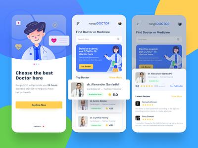 NangoDOC - Mobile App for finding Doctors freelancer dribbble illustration ux design ui  ux ui doctor app medical app freebies uidesigner uidesign