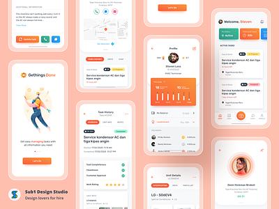 Gething Done App - App Exploration 👷 app illustration orange ui ux mobile app design ui  ux task management task app technician