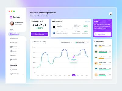 Investment Dashboard 🤑 finance dashboard design uiux responsive design uiuxdesign interfacedesign money app monitoring dashboard management app money management