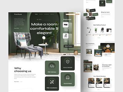Furniture Web Design - Exploration dribbble business elegant modern clean lamp table chair green webdesign web furniture graphic design design uidesign ui