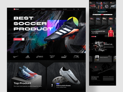 Soker - Web Design Exploration bold football man lining puma reebok asics adidas nike foot black kick shoes store sport soccer dribbble uidesign design ui