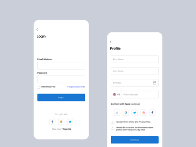Login/Sign Up Page sign up profile page create account login screen login page mobile app ui ui  ux uiux ui design mobile ui mobile app design design