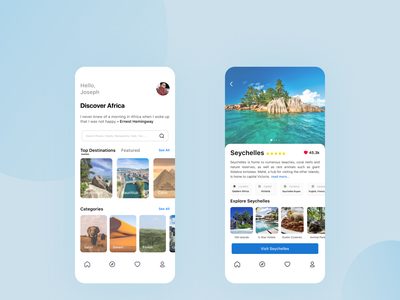 Travel App travel app design travel app travel app ui discover destinations vacation app africa travel mobile app ui  ux ui uiux ui design mobile ui mobile app design design