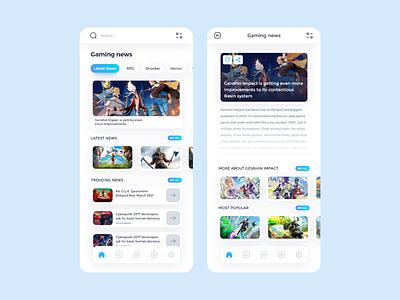 Game news app white art game art blue design adobe xd website web anime ux ui app game design news app news game