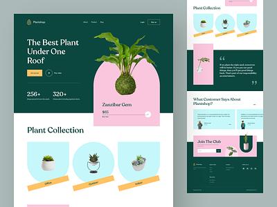 Plant Shop V2 - Landing Page tanim ecommerce pot design website leaves web header landing planting indoor green plant store ui web homepage interior garden shop interface