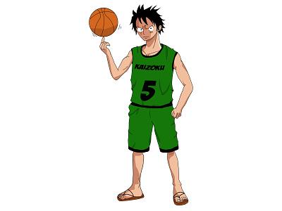 basket luffy basketball one piece mugiwara luffy beginner
