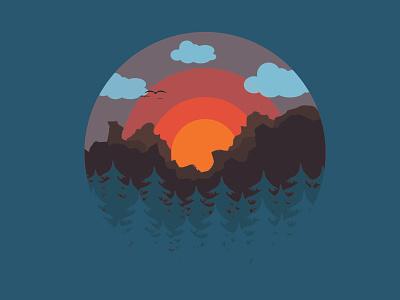 First nature pict trees sunset mountain forest flat illustration flatdesign nature illustration vector design illustrator beginner