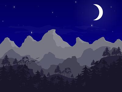 Moutains under the moonlight vector trees stars night forest moonlight moon mountain nature flat design design illustration amateur illustrator beginner