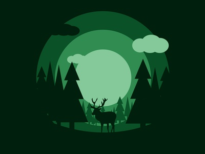 Forest green moonlight tree nature forest dear animal vector illustration illustrator design amateur beginner