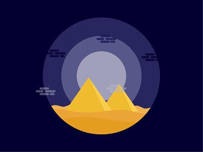 Pyramides colours clouds moonlight night sand dust pyramids pyramid nature vector illustration illustrator design amateur beginner