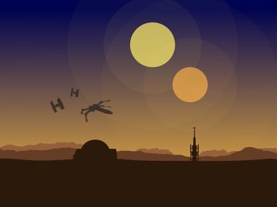 Tatooine Sunset movie anakin skywalker x-wing tatooine sunset starwars illustration illustrator amateur beginner