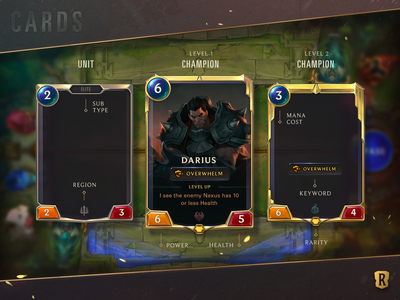 Legends of Runeterra Unit Cards texture cards ui cards design ui interactive league of legends card game games gaming