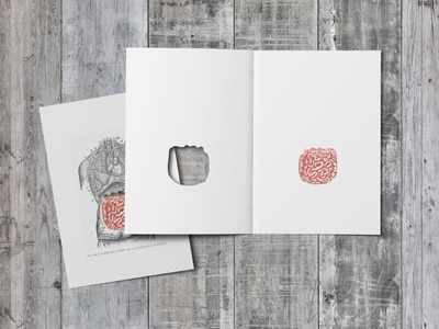 Post Surgery Greeting Card - Intestines graphic design anatomy die cut greeting card wood vintage card intestines