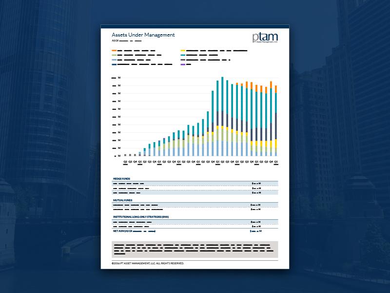 PTAM Assets Under Management (AUM) Sheet finance redesign layout identity design data chart branding blue