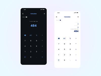 Calculator UI/UX Design - 004 app ui ux design ui design clean color theme blue light mode dark mode calculation calculator design calculator app calculator ui calculator 4k design
