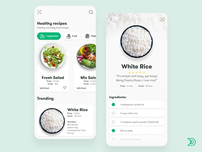 Food Recipes App UI/UX Design Concept food app design rice healthyfood healthy douarts ux food ux design uxdesign ux  ui uxui ux food app ui dailyui ui design uidesign ui  ux uiux ui food app food