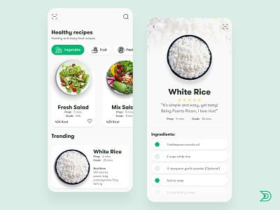 Food Recipes App UI/UX Design Concept food app design rice healthyfood healthy douarts ux food ux design uxdesign ux  ui uxui ux food app ui dailyui ui design uidesign ui  ux uiux ui food app food
