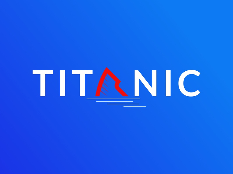 TITANIC vector flat minimal typography logo design lettermarklogo film titanic