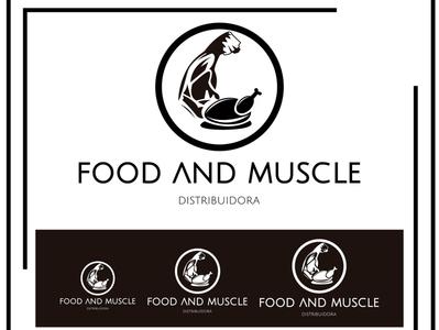 MARCA DE FOOD AND MUSCLE vector flat logo typography branding design