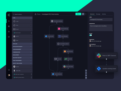CRFT Automation Flow Canvas drag and drop flow canvas ui automation security dark ui dashboard
