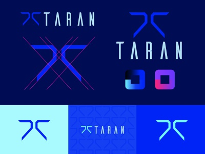 Taran Armstrong Logo branding retro synthwave vector illustrator geometric neon blue scifi iconography icon logo mark brand logo