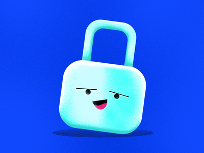 Security Emoji texture illustration cute smiley blue emoji icon textline security lock