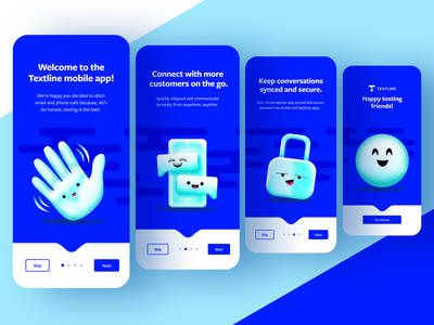 Textline Mobile Welcome Experience ui figma emojis illustration product design welcome blue textline mobile app app design mobile onboarding mobile design mobile